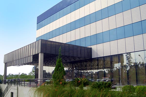 An exterior view of Nielsen's office in Brazil