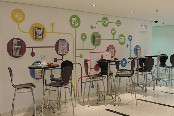 The cafeteria of Nielsen's office in Brazil