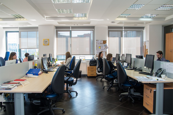 An interior view of the Nielsen office in Croatia with employees hard at work