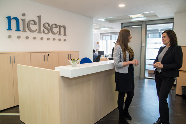 The reception desk of Nielsen's office in Croatia