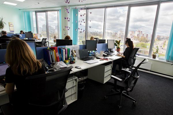 An interior view of the Nielsen office in Belarus with employees hard at work