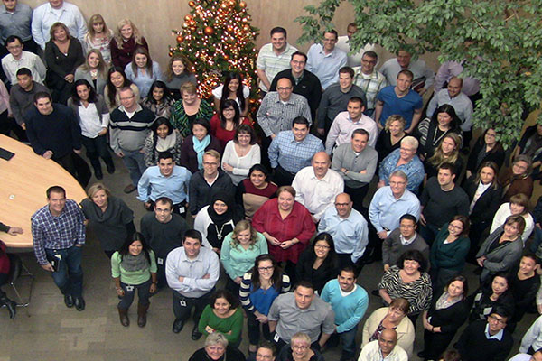 Nielsen employees at their holiday party in the Markham office