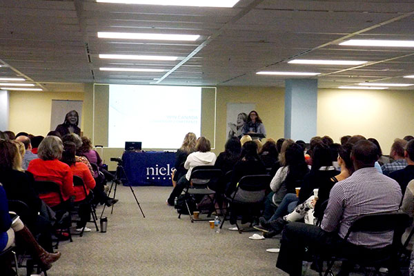 Nielsen employees attending a presentation at the office in Markham
