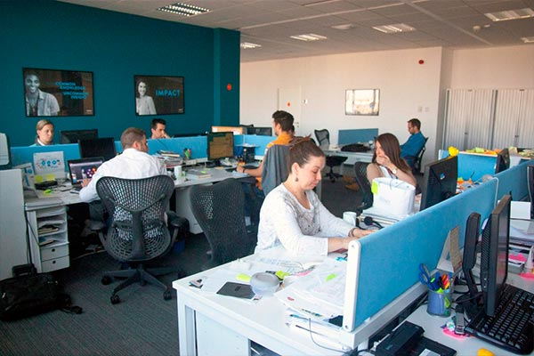 An interior view of the Nielsen office in Serbia with employees hard at work