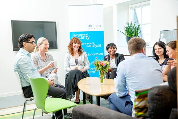 Several Nielsen employees having a meeting in the office in Sweden