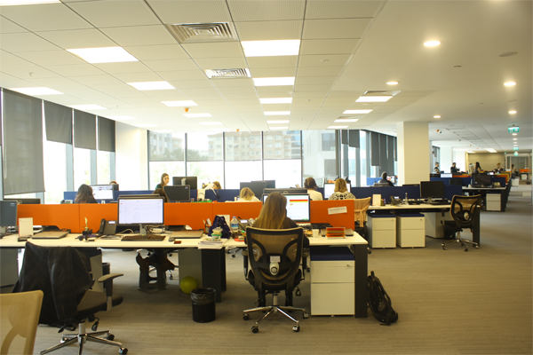 An interior view of the Nielsen office in Turkey with employees working on their projects