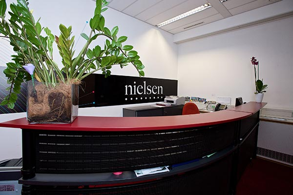 The reception desk of Nielsen's office in Hungary