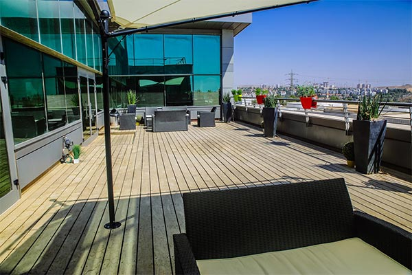 The patio of the Nielsen office in Israel