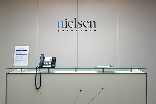 The reception desk of Nielsen's office in Japan