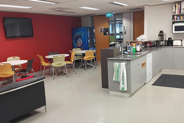 The breakroom of Nielsen's office in New Zealand