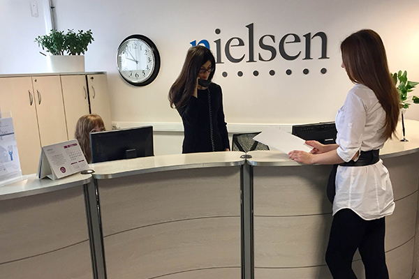 The reception desk of Nielsen's office in Russia